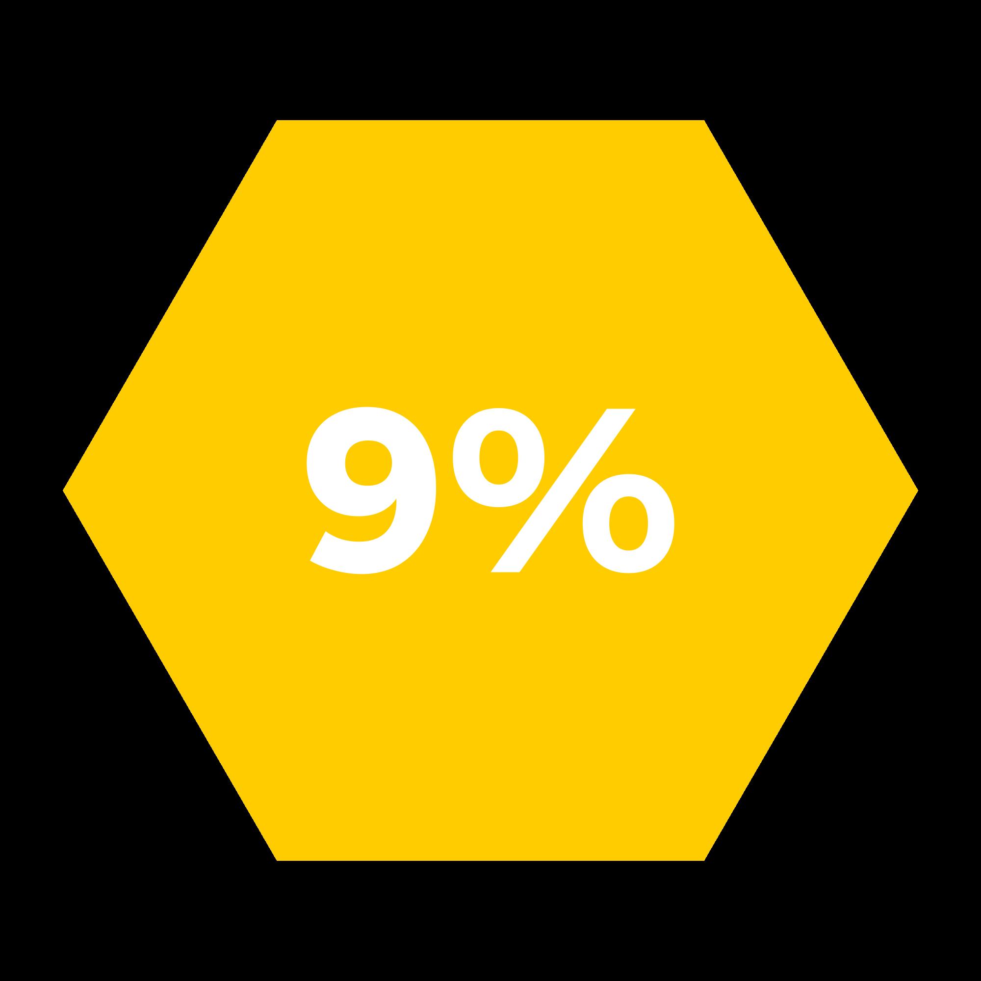 9% hexagono