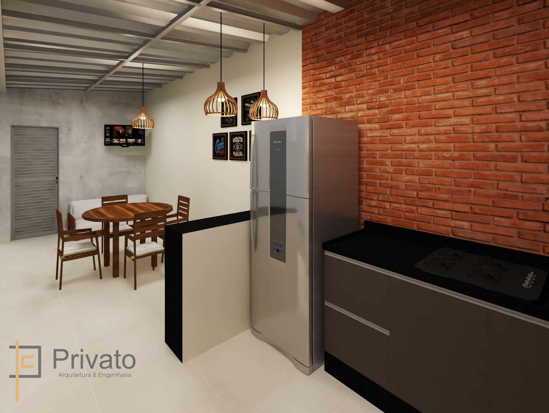 Area interna com churrasqueira em modelagem 3d
