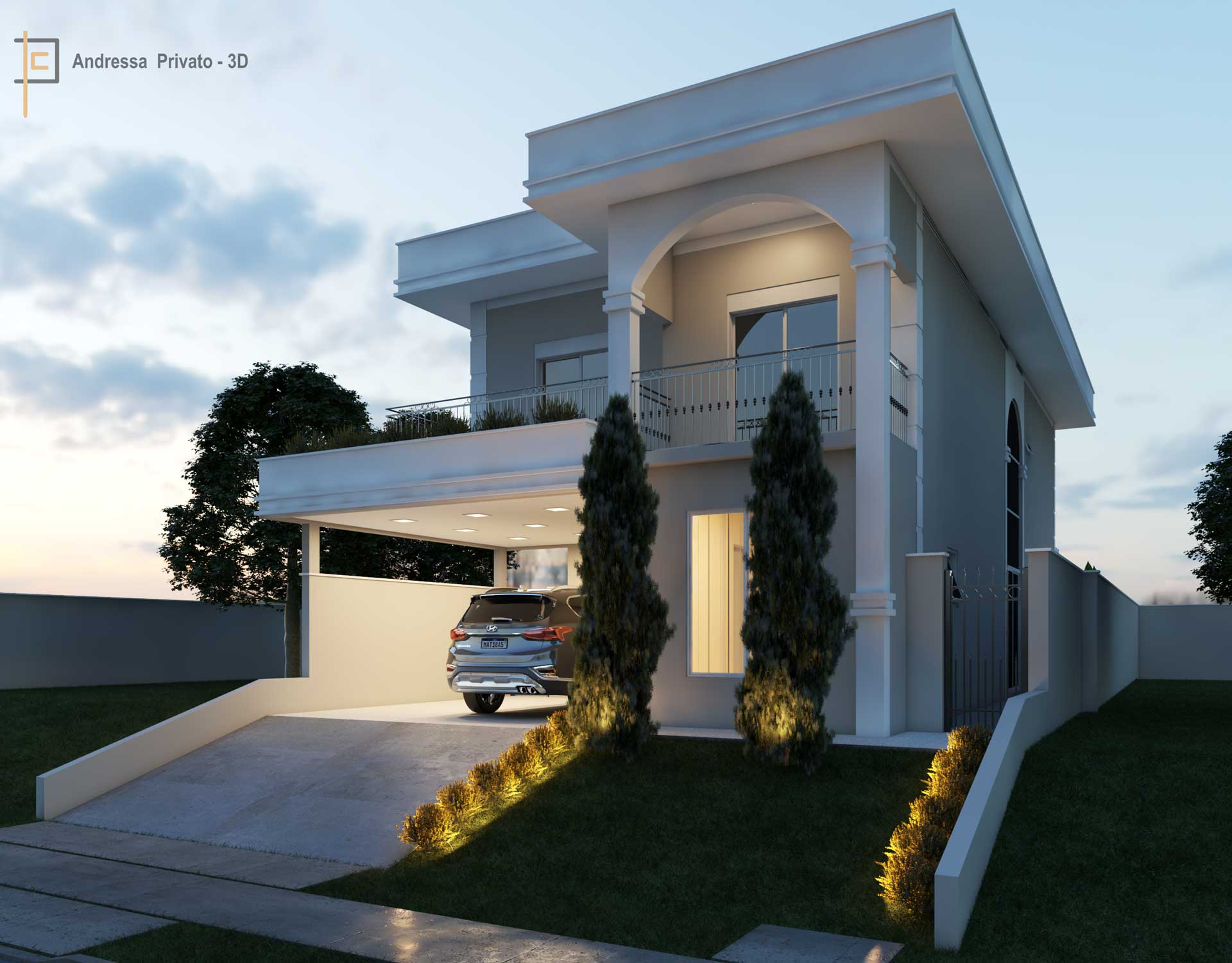 casa branca em modelagem 3d
