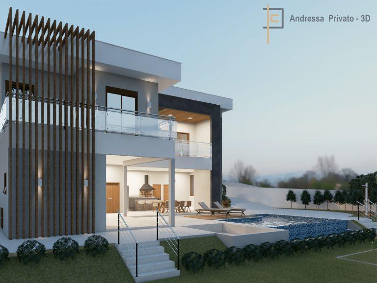 foto frente de casa com piscina em modelagem 3d