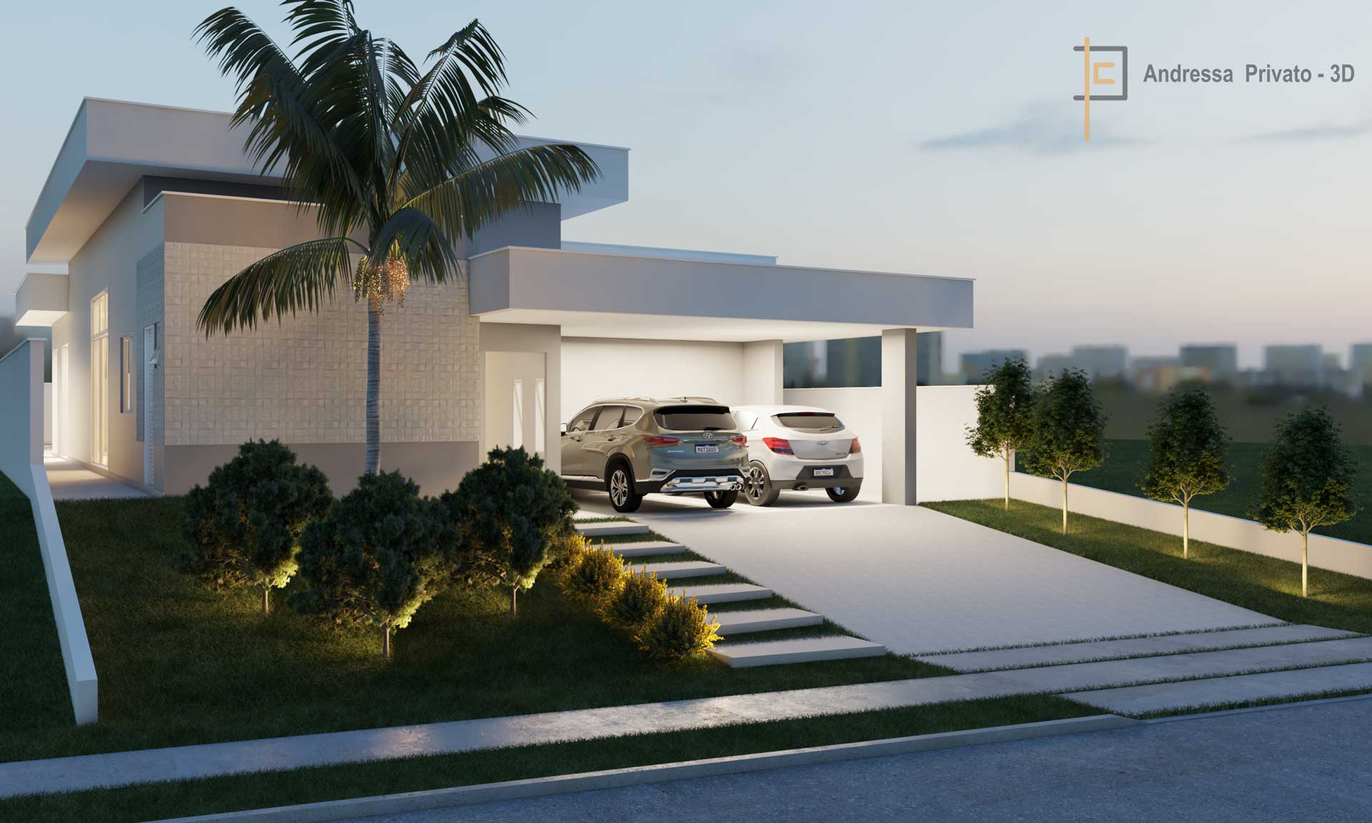 frente de casa em modelagem 3d
